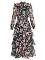 2019 высококачественное винтажное платье с оборками 2019 весеннее многослойное платье с длинными рукавами женское вечернее платье D891