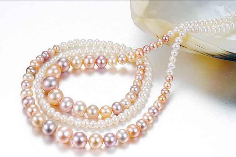 7-10 มิลลิเมตร south sea รอบสีชมพูสีม่วง multicolor pearl สร้อยคอ 58inch14