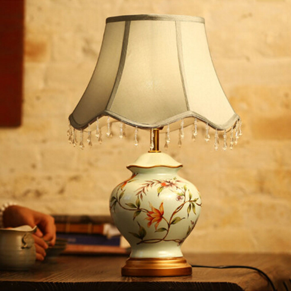 Table lamps for reading in bed - Retro Ceramics Reading Bed Light Embroidery Hand Painted Ceramic Table Lamps For Bedroom Study Living Room