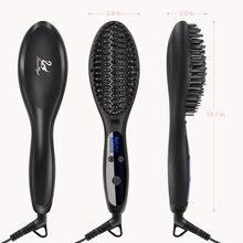 SwanMyst Hair Straightening Brush Ceramic Beard Straightener Brush Iron with Heat Resistant Glove and Auto Lock