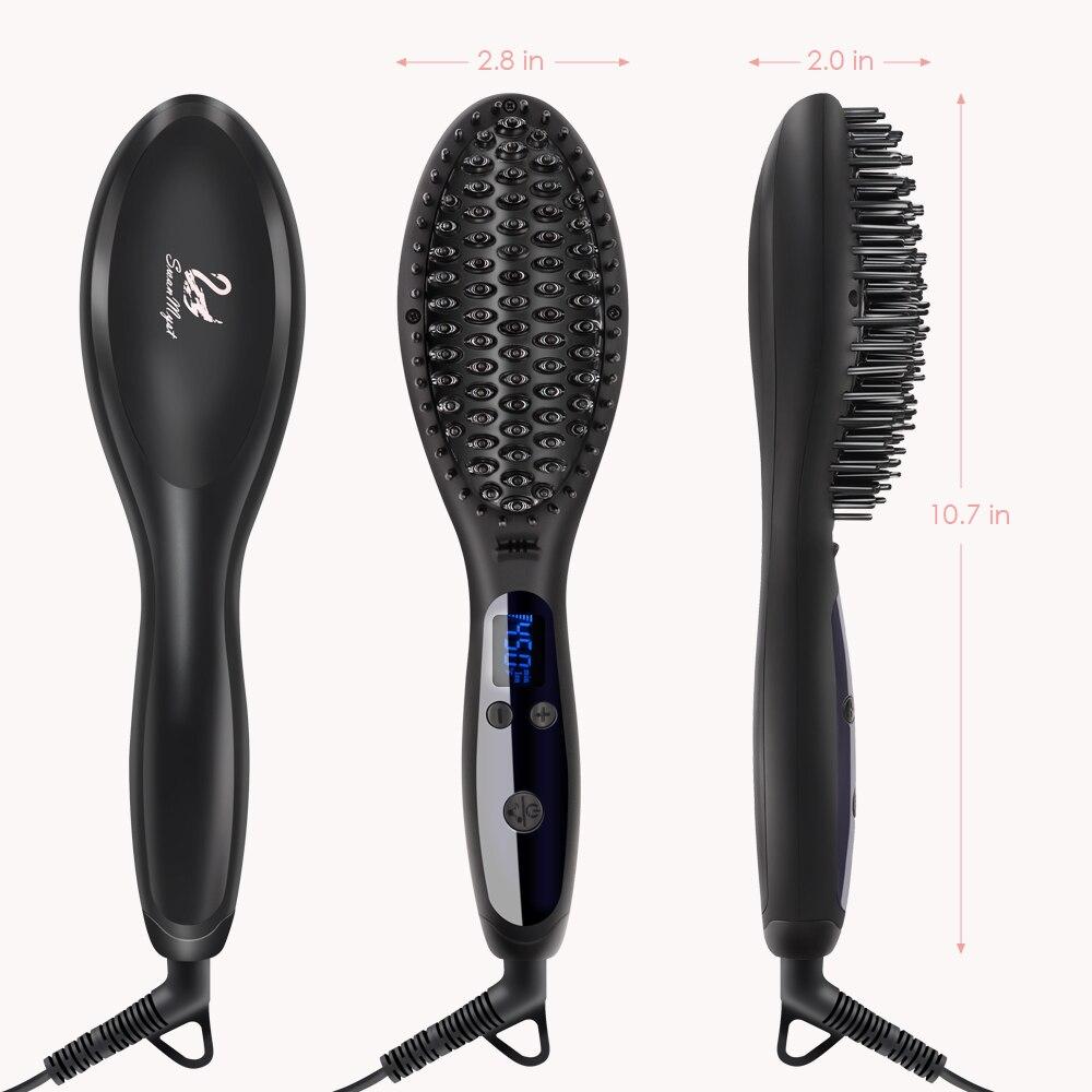 SwanMyst Hair Straightening Brush Ceramic Straightener Brush Iron with Heat Resistant Glove and Auto Lock