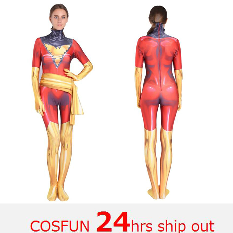24 Hrs Shipped Out Kid's Women's Jean Grey Cosplay Costumes Anime Phoenix Spandex Lycra Bodysuits Jumpsuits Halloween Costumes