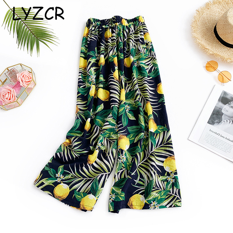 Women Flower Print Wide Leg Pants Summer Loose Ladies Cotton Women's Pants Elastic Waist Casual Beach Floral Print Pants Women