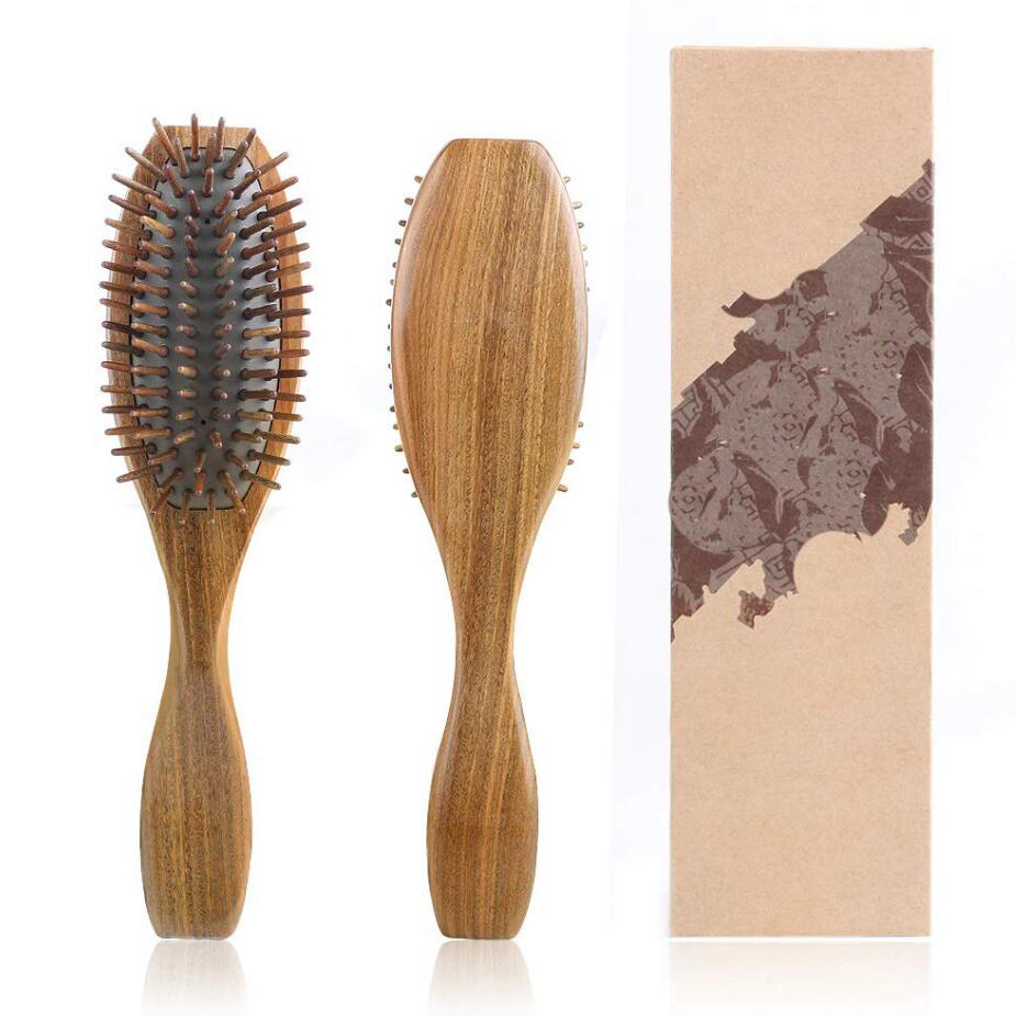 Sandalwood Hair Brush Wooden Natural Handmade Detangling Massage Hair Comb Gift Box G0312 in Combs from Beauty Health