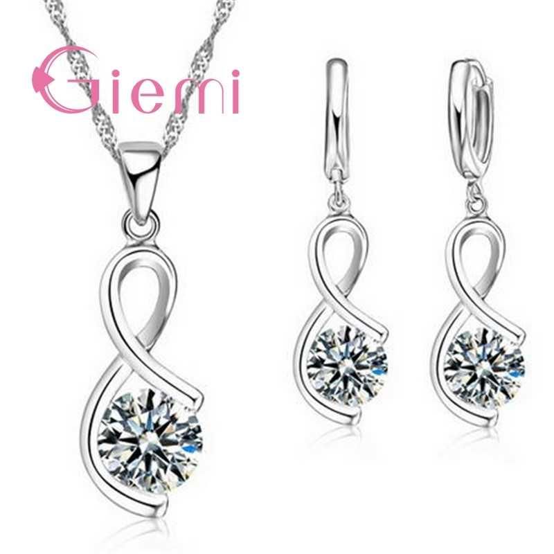 Réel 925 en argent Sterling étrange luxe boucle d'oreille et breloque collier de mariage bijoux de mariée ensembles charme rond zircone cristal
