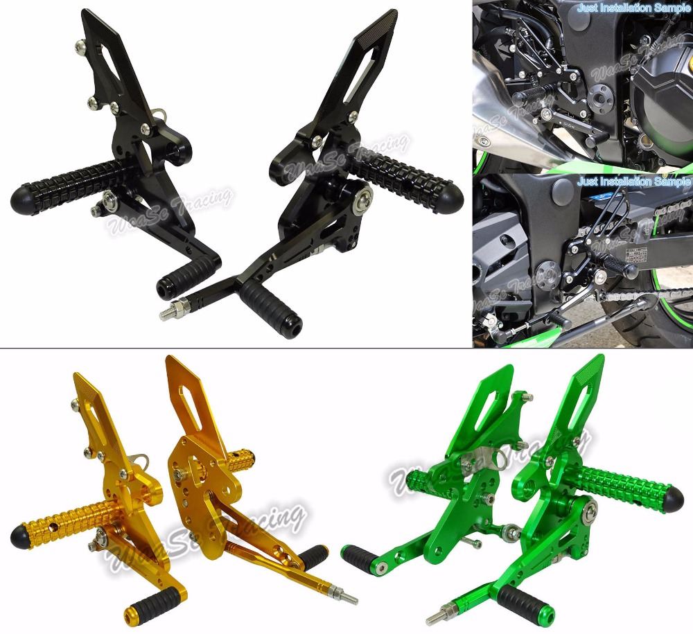 waase CNC Adjustable Rider Rear Sets Rearset Footrest Foot Rest Pegs For Kawasaki Ninja 250 300