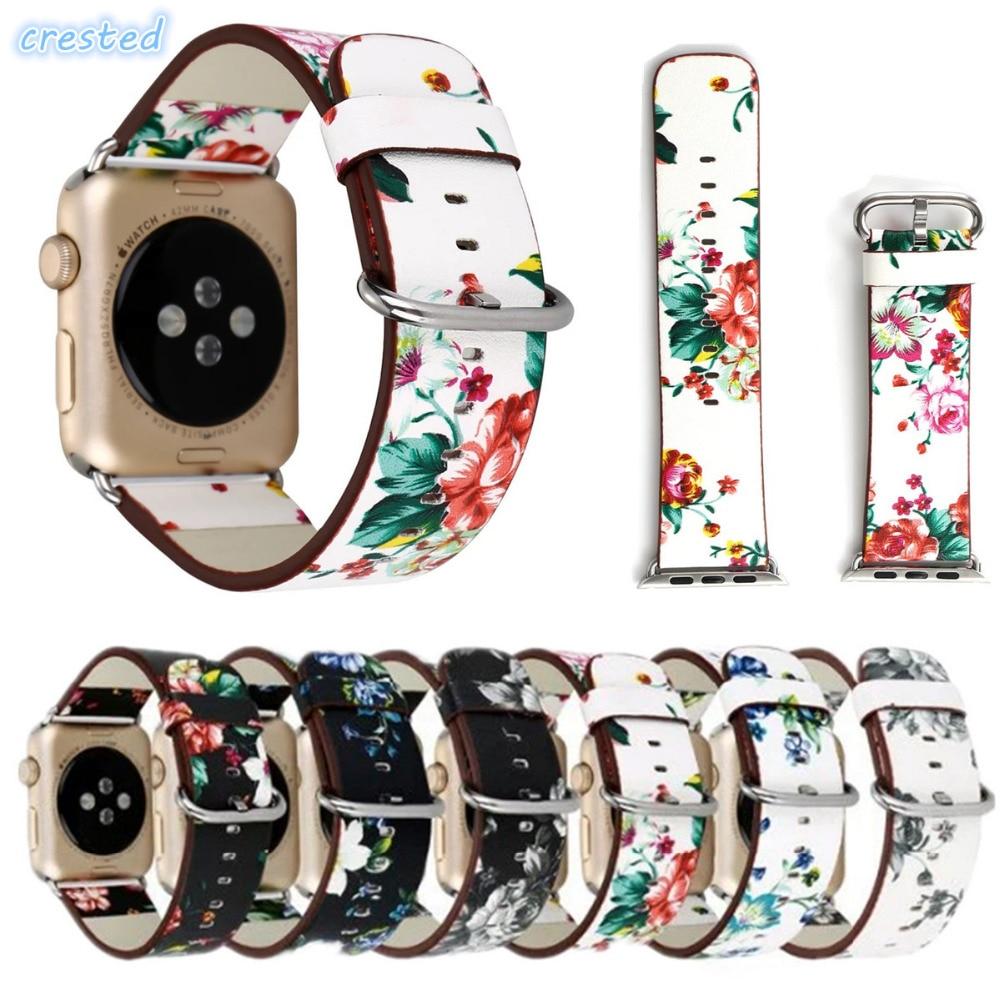 CRESTED cinturino in vera pelle per apple watch band 42mm/38 serie dell'orologio Del Braccialetto per iwatch fascia 1/2/3 con adattatore