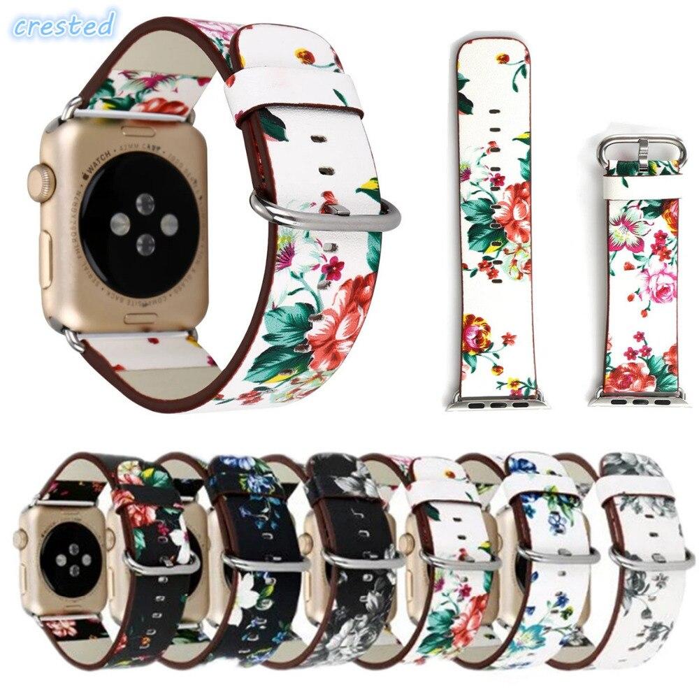 CRESTED lederarmband für apple uhrenarmband 42mm/38 armbanduhr Armband für iwatch band serie 1/2/3 mit adapter