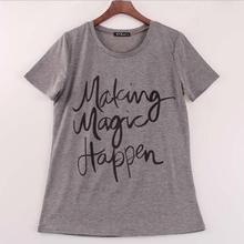 New Summer Women T-shirt Print Super T Shirt gray Cotton Letter Tops Tee Harajuku T shirt a325