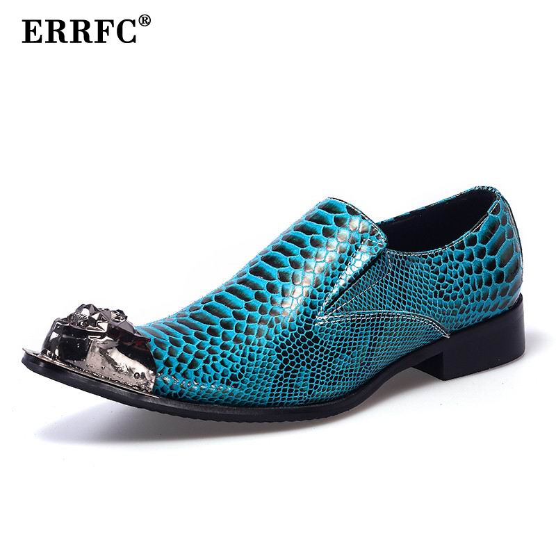 Slip Errfc En De Photo Designer Hommes On Mode Bleu Personnalisé Serpent Homme Métal As Toe Loisirs Cuir Chaussures Soirée Motif Robe PqrZPF