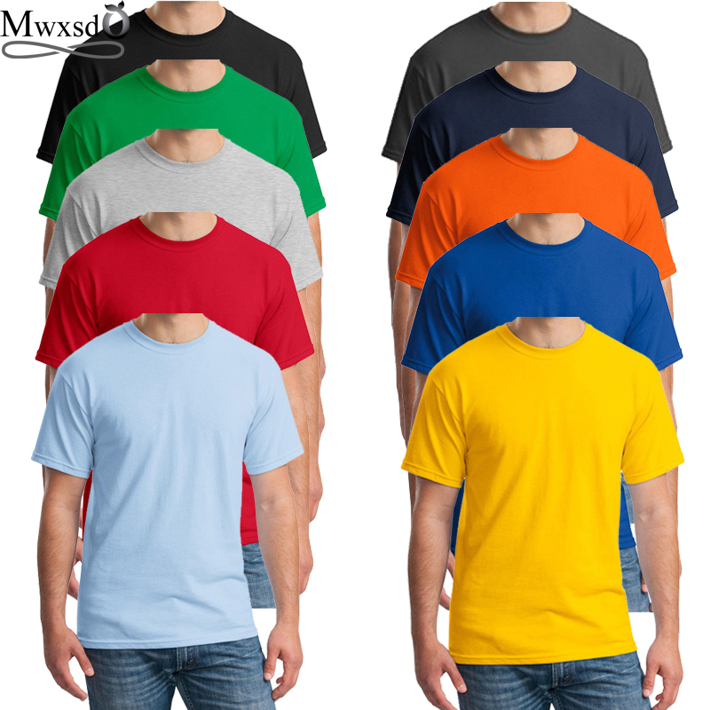 6pcs/lot New Summer Mens Cotton T Shirt Men Printed Tshirt O-neck Solid Color T Shirt Casual Men T Shirt Wholesale Tees For Male