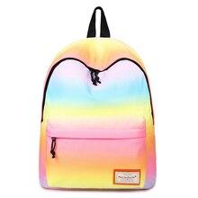 Женщины печати рюкзаки градиент цвета сумки на плечо нейлон школьные сумки Радуга школьные сумки для девочек-подростков Книга сумка Mochila