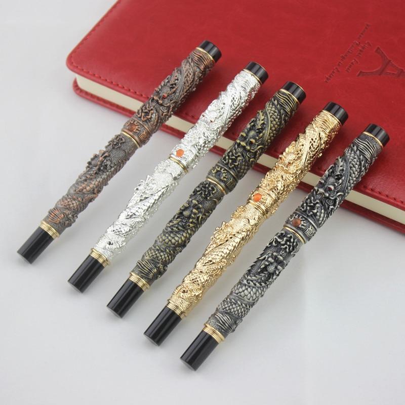1 шт. Jinhao Китайский традиционный двойной драконов 0,5 мм авторучка тонкий наконечник Роскошные Бизнес офис подарочные ручки для сбора