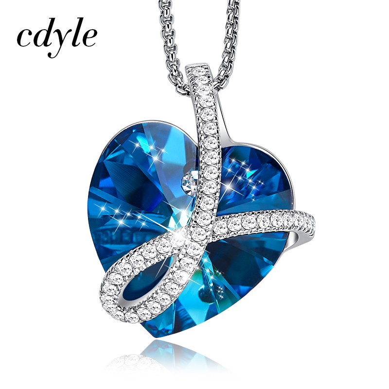 Cdyle Romantic Jewelry LOVE YOU FOREVER Bermuda Blue Crystal Heart Pendant Necklace with Pave Zircon for Her Birthday GiftPendant Necklaces   -