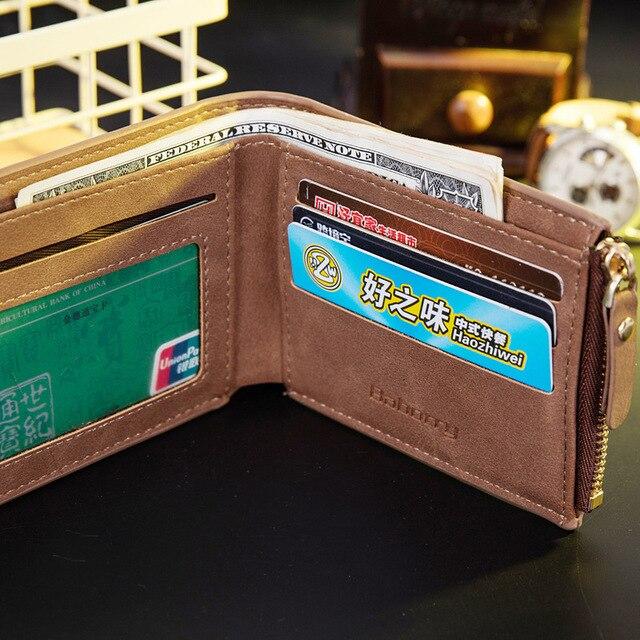 Vitage Zipper Men Wallets Leather Wallet Money Bag Credit Card Holders Dollar Bill Wallet Clutch Purse for Boy Use Short Wallets 2