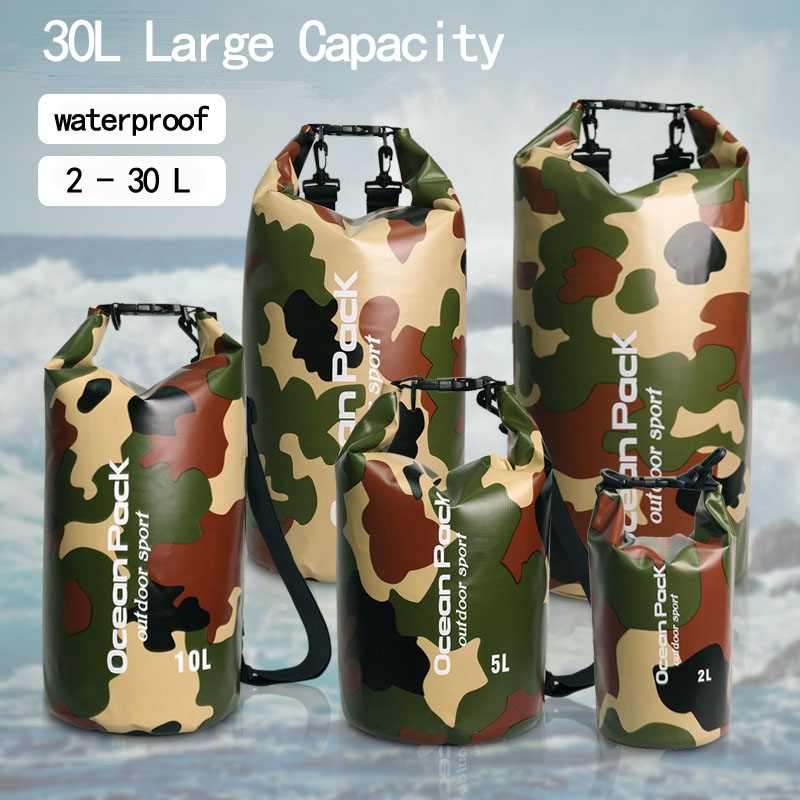 2L 5L 10L 15L 20L 30L Outdoor PVC Waterproof Bag Camping Portable Rafting Diving Dry Bag Sack Swimming Trekking Storage Bags