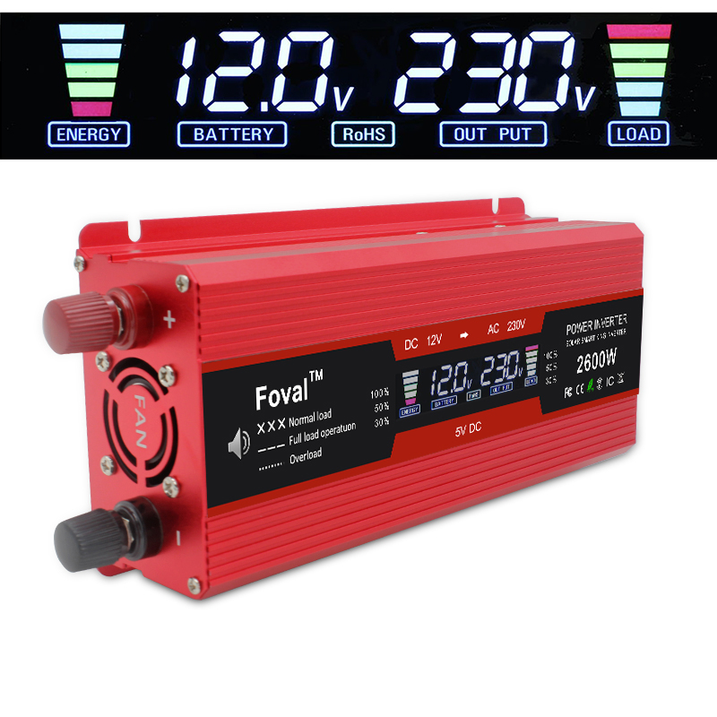 LCD Display Solar Adapter Dual 3.1A USB 1500W/2000W2600W Car Power Inverters DC 12V To AC 230V Modified Sine Wave EU Socket RED