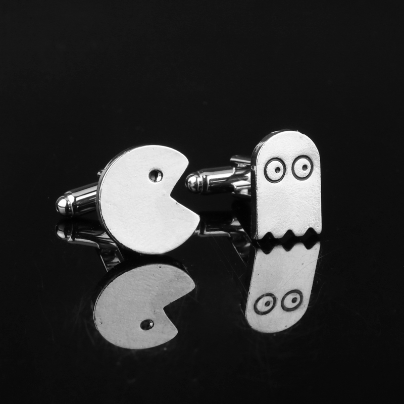 Packman&Ghost Cufflink Stainless Metal Cuff Buttons Pins Shirt Cuff links for men women fashion jewellery spade ace pattern electroplating brass cuff links buttons silver black pair