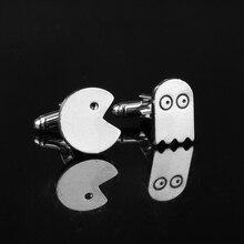 Packman&Ghost Cufflink Stainless Metal Cuff Buttons Pins Shirt Cuff links  for men women fashion jewellery