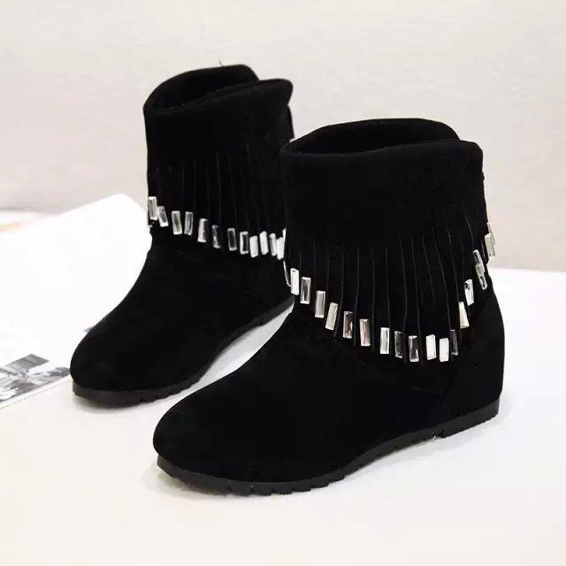 Bottes Cheville 2018 Femmes D'hiver Nouvelles Noir En Décoration Noir Strass Rouge rouge Daim Botas K350 Gland Mujer Srwrq8t