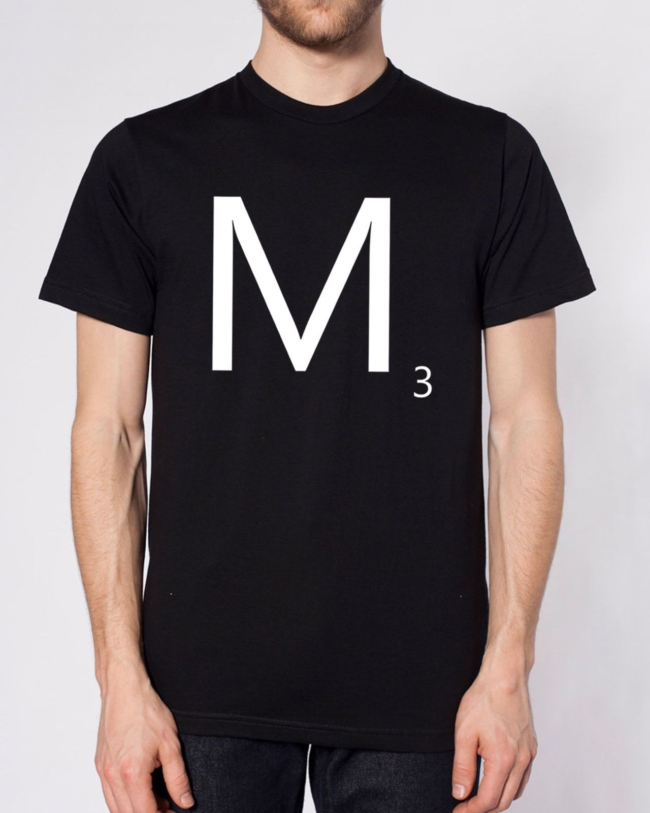 Scrabble Letters M 3 T Shirt Personalized Gift Present Retro Hipster Brand Game