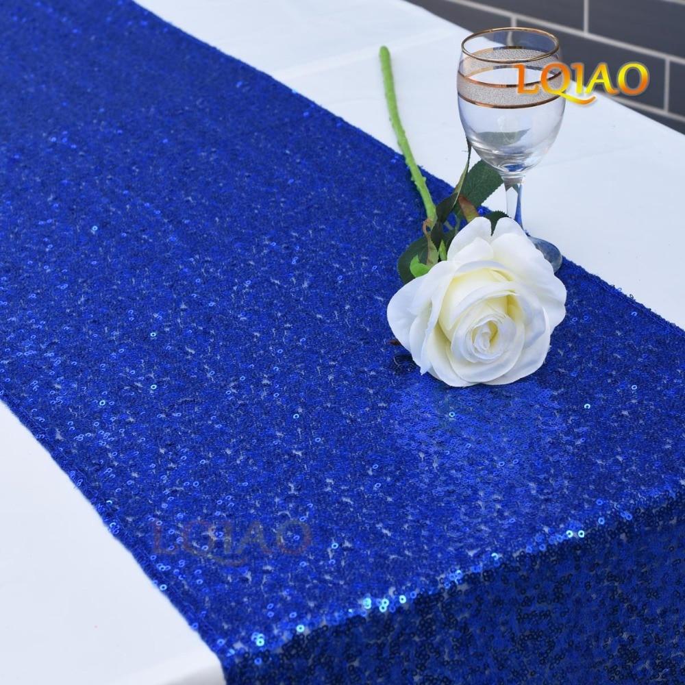 Royal Blue Sequin Table Runner-001