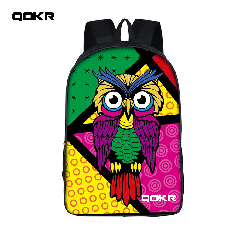 16 inch Cartoon Owl Student Backpack Cute Animal owl Print School Bag For Teenager Women ...