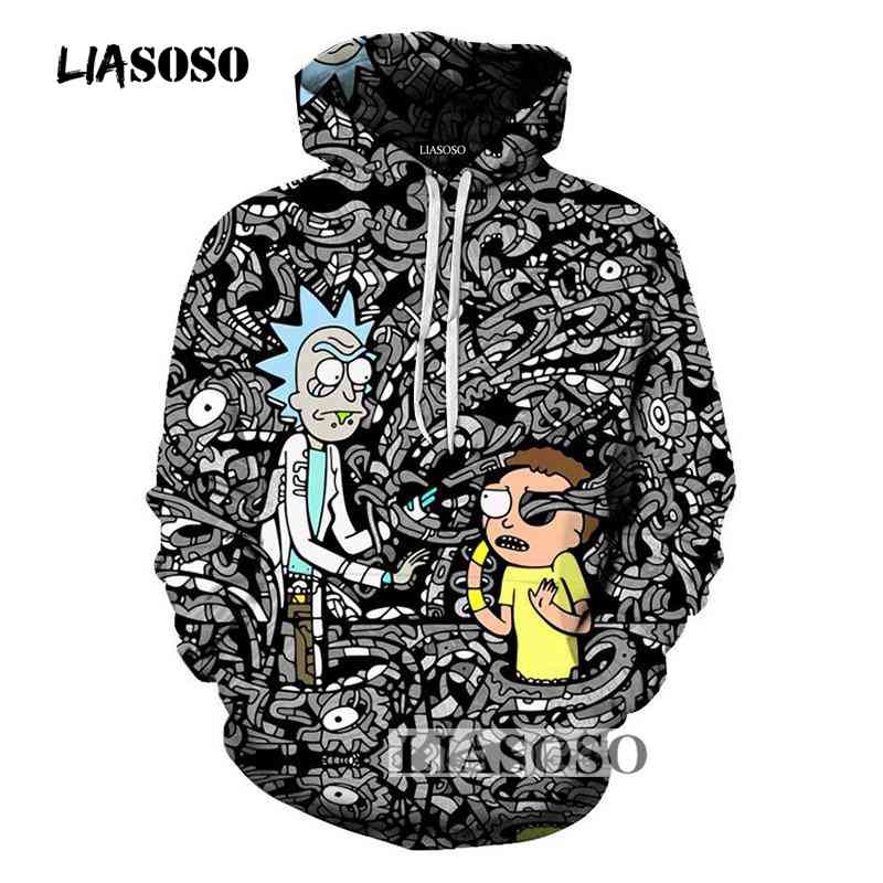 LIASOSO Anime Hoodies 2017 Fashion Funny Hoodie Sweatshirts Men 3D Print Rick and Morty Cartoon Tee Hooded Pullovers Jacke R4045 hoodie