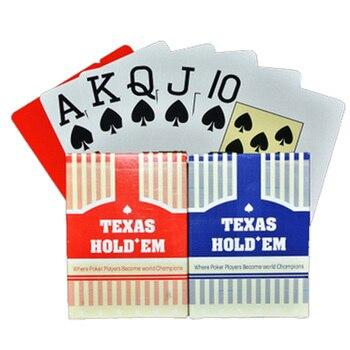 2 set/lote clásico Texas Poker tarjetas gran tipografía tarjetas de plástico Poker impermeable juego