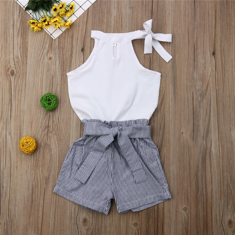 New Two Piece Set Toddler Kids Baby Girls Clothes Sleevless White Tops Elastic Striped Shorts Outfits Summer 2019