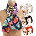 Эмаль шелковый шарф пряжка шарф пряжка классический краткая версия высокое качество шелковый шарф клип аксессуары