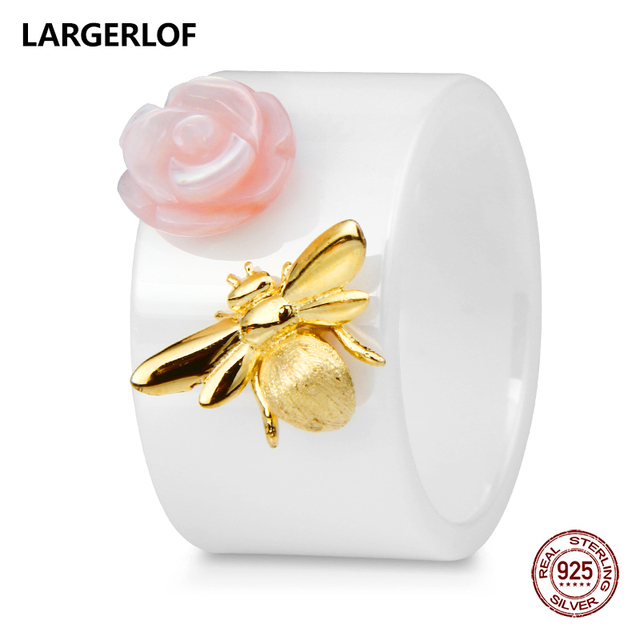 LARGERLOF Ring Silver 925 Women Bee Ring Ceramic Silver 925 Jewelry Rings Female