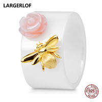 LARGERLOF Ring Silver 925 Women Bee Ring Ceramic Silver 925 Jewelry Rings Female RG35058