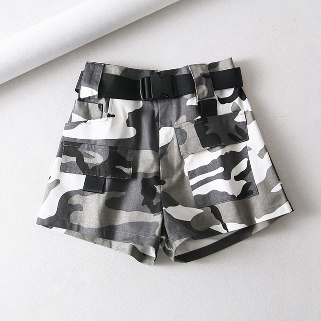 Summer cotton high waist shorts for women fashion belt shorts vintage sexy cargo shorts biker pocket shorts 2019 Korean version 2