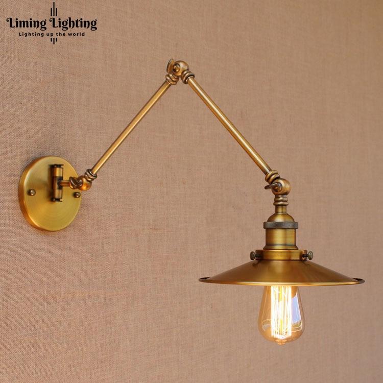 Edison Copper Adjustable Long Swing Arm Wall Lamp Vintage Wandlamp Loft Style Industrial Wall Sconce Applique Murale Luminaire цена