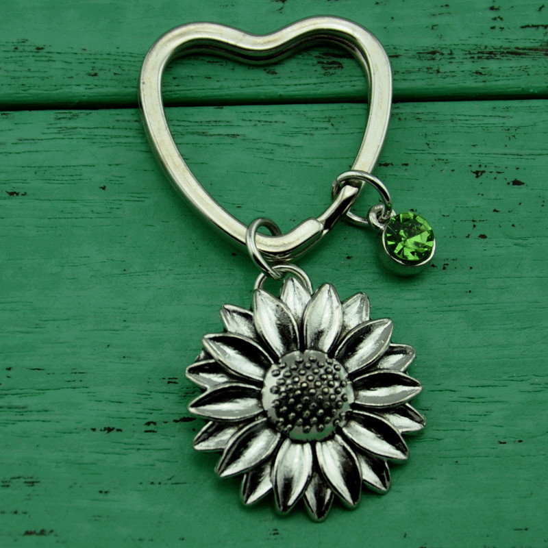Field of Sunflowers Heart Love Metal Keychain Key Chain Ring