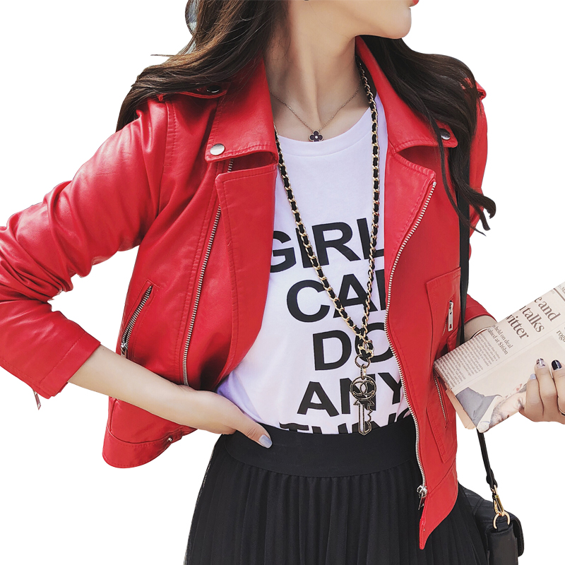 2019 New Fashion Autumn Street Women's Short Washed PU Leather   Jacket   Zipper Bright Colors New Ladies   Basic     Jackets   Good Quality