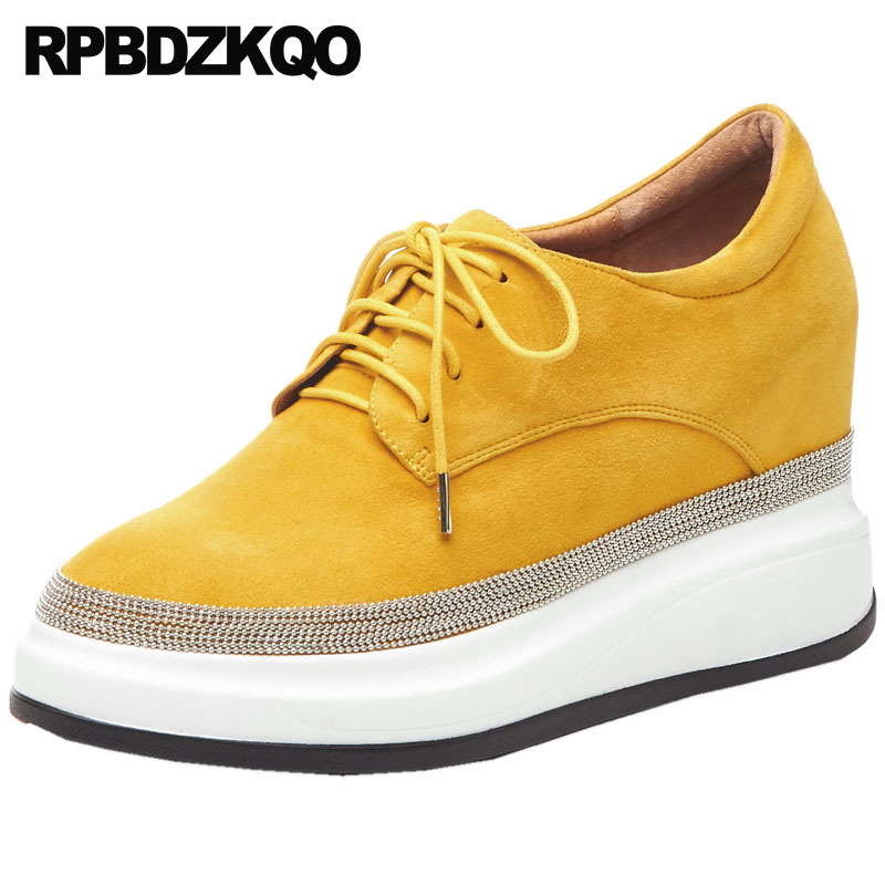 women muffin beaded creepers platform shoes elevator yellow korean metal wedge lace up thick sole latest walking genuine leatherwomen muffin beaded creepers platform shoes elevator yellow korean metal wedge lace up thick sole latest walking genuine leather