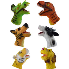 6 Types Quality Soft Vinyl PVC Animal Hand Puppet Toys Novelty Cute Dog Lion Dinosaur Tiger Children Gifts Model Free Shipping