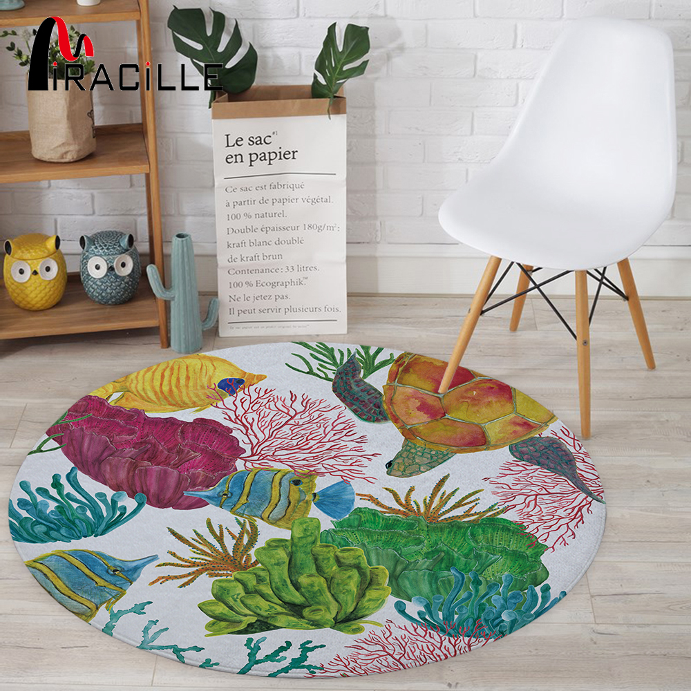 Miracille Marine Style Colorful Sea Turtle Seaweed Tropical Fish Pattern Coral Velvet Soft Round Carpet Table Chair Sofa Rugs
