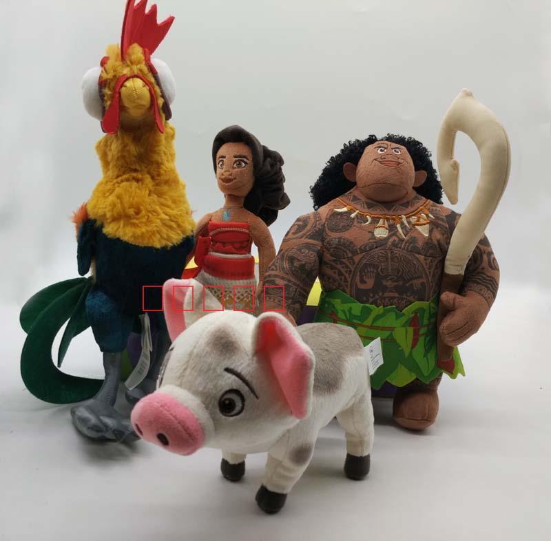 Neue Authentische Moana Maui Heihei haustier schwein Pua Weiche angefüllte Plüsch Spielzeug Puppe Film Set von 4