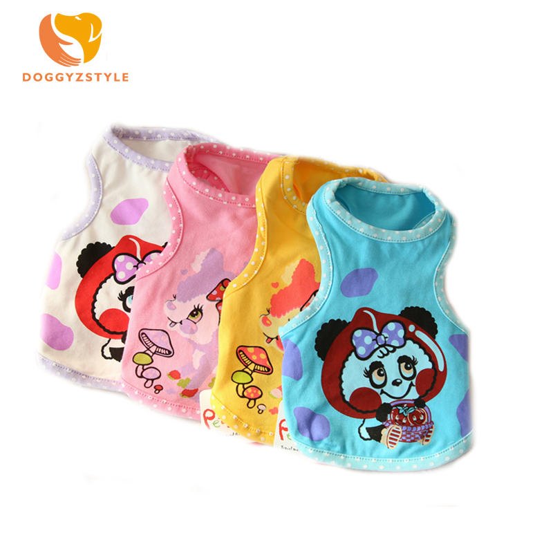 Summer Breathable Pet Dog Cat Vest Animal Printed Cotton Vest T-shirt Dog Clothes For Small Medium Dogs 4 Colors DOGGYZSTYLE