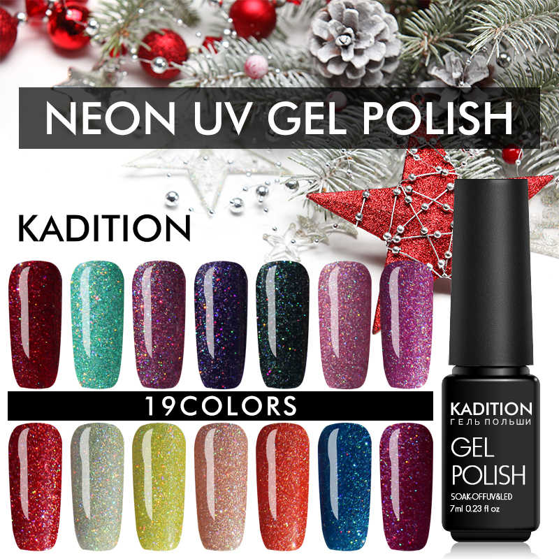 Kadition Bling 7 Ml Neon Kuku Gel Polandia 12 Warna Glitter Gel Lacquer Nail Art Pernis Rendam Off UV LED tahan Lama Gel Pernis