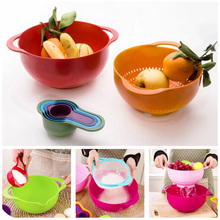 8PCS/Set Plastic Bowls For Food Multicolor Salad Bowl Fruit Snack Colander Sifter Measuring Cups Spoon Mixing Kitchen Tool