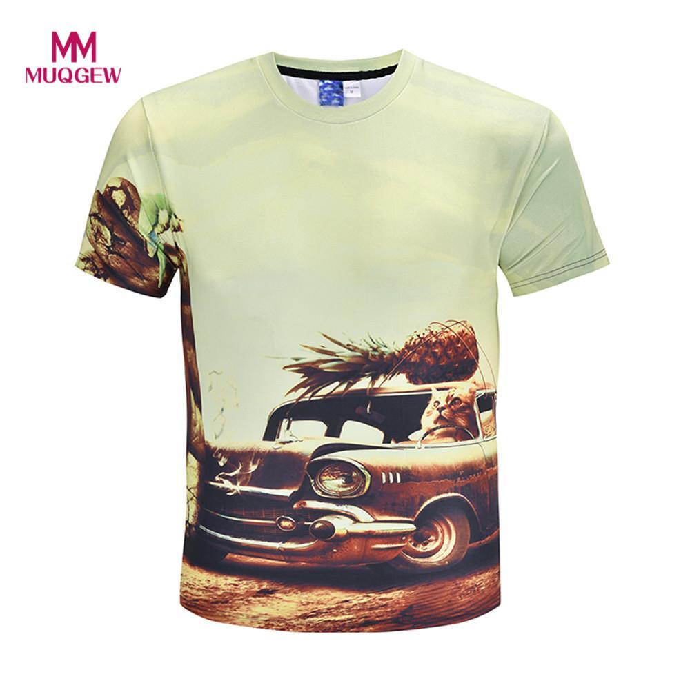 men T-shirt 3D Printing summer Casual Funny Friut Cat Short Sleeve O-neck T-shirt Top camiseta de los hombres T-shirt des homme
