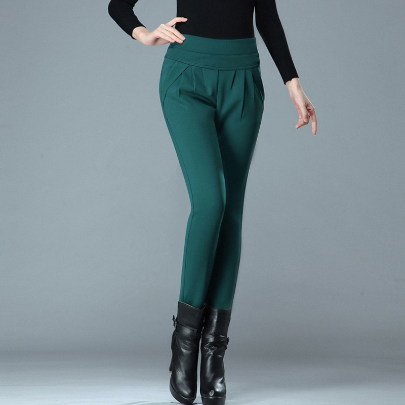 Plus Size Winter Thick Elastic High Waist Women Pencil   Pants   Female Full Length   Pants     Capris   Casual 2018 Office Ladies Trousers