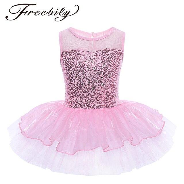 5d5408657 Child Girls Ballerina Costumes Kids Sequined Flower Dress Dancewear ...