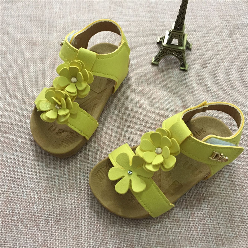 2017 Summer Kids Baby Children Sandals Shoes Fashion PU Leather With Flowers Sweet Soft Bottom Girls Princess Sandals