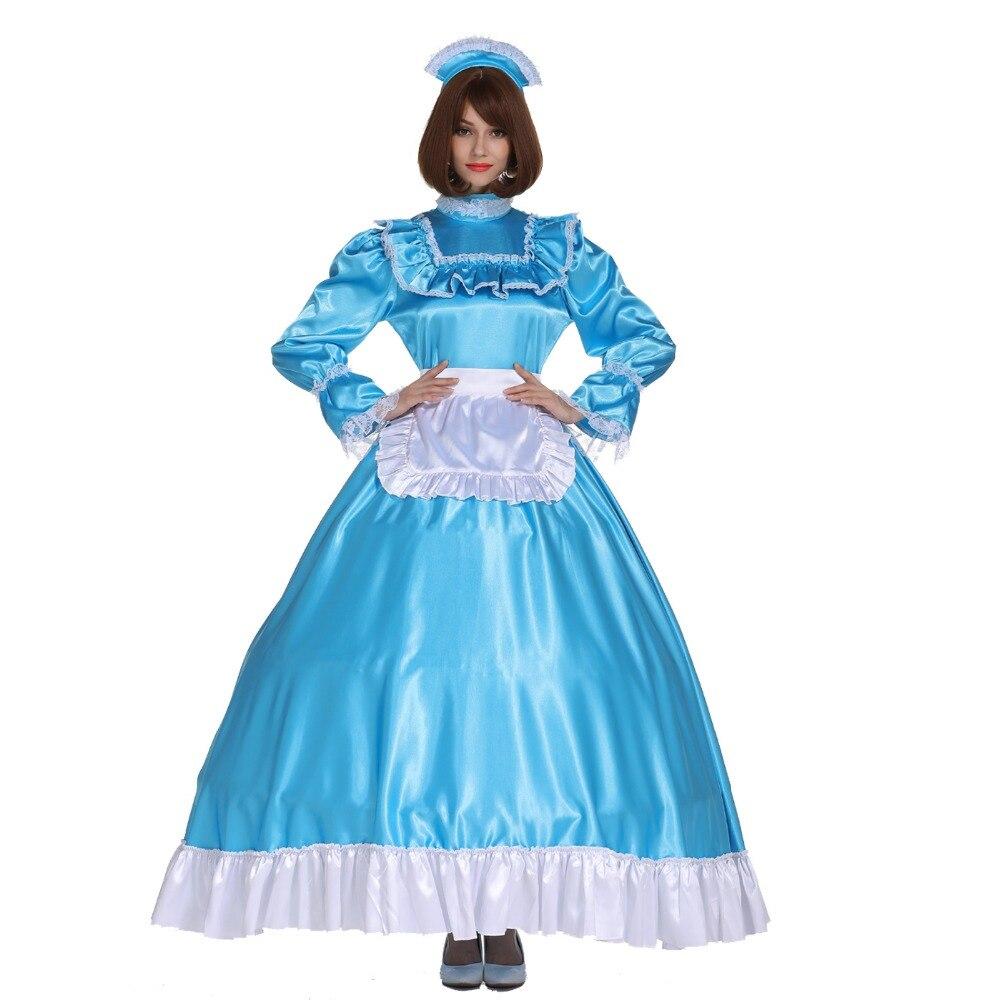 Sissy Fille Maid Verrouillable Satin Longue Turquoise Bleu Robe Costume Crossdress Cosplay Costume