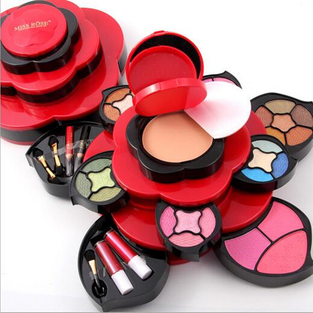 Genuine MISS ROSE Eye Shadow Plate Medium Plum Blossom Rotating Eye Shadow Box Cosmetic Case Makeup Palette Makeup Tools